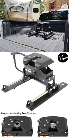 This heavy-duty trailer hitch has interlocking jaws, a torsion head, and a color-coded lock indicator for safety and security. Non-binding slider ensures proper clearance during slow turns. Trailer Plans, Trailer Hitch, 5th Wheel Trailers, Electric Truck, Van Accessories, Custom Trailers, Ford Super Duty, 5th Wheels, Truck Accessories