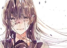 Anime, manga, and video game fan-art artworks from Pixiv (ピクシブ) — a Japanese online community for artists. pixiv - It's fun drawing! Anime Girl Crying, Sad Anime Girl, Kawaii Anime Girl, Anime Art Girl, Manga Girl, Wallpaper Anime Hd, Manga Anime, Image Manga, Sad Art