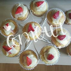 Today I baked strawberry shortcake cupcakes with white chocolate ganache topping :) #amazing #cupcakes #ganache #pastry