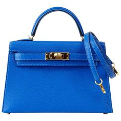 HERMES KELLY Bag 20 cm Rare Limited Edition Mini Kelly II Blue Hydra Chevre  | From a collection of rare vintage top handle bags at https://www.1stdibs.com/fashion/handbags-purses-bags/top-handle-bags/