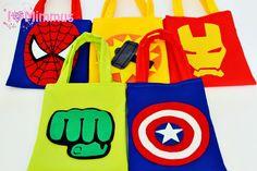 Diy Loot Bags, Goodie Bags, Gift Bags, Superhero Birthday Invitations, Superhero Birthday Party, Captain America Party, Fantasy Craft, Drawing Bag, Avengers Birthday