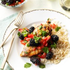 Lime Chicken with Blackberry Salsa Recipe
