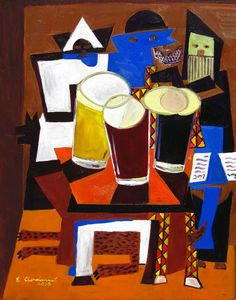 """Beer Oil Painting: """"Three Musicians After Hours"""", Picasso Style, Father's Day Gift, Gift for Beer Lover, Anniversary Gift for Husband"""