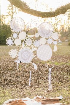At Home With Love - gotta DIY this doily dream-catcher and hang from a beautiful old tree