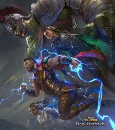 by Jafareka Setiawan (artstation.com/artist/fajareka) #fajarekasetiawan #thor #hulk #loki #valkyrie #ragnarok