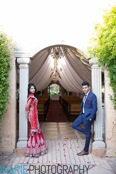 Deepesh and Shinu in the chapel archway