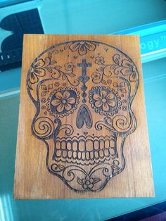 Wooden Sugar Skull Wall Art by TinyRiotDesigns on Etsy, $25.00