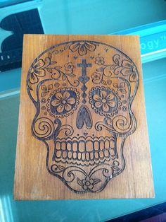 Wooden Sugar Skull Wall Art by TinyRiotDesigns on Etsy, $25.00