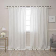 Aurora Home Belgian Flax Romantic Tie Top Curtain Panel
