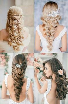 Up hairstyles - Half up hairstyles - Hairstyles up - Put up hairstyles - half up half down hairstyles Wedding Hairstyles For Long Hair, Formal Hairstyles, Bride Hairstyles, Down Hairstyles, Formal Hair Down, Evening Hairstyles, Half Up Half Down Hair, Elegant Updo, Wedding Hair Down