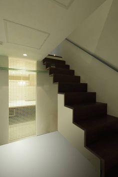アーキシップス古前建築設計事務所 の モダンな 廊下&階段 ねことひきこもる家 階段