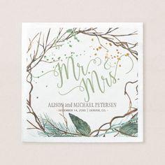 Watercolor winter wreath mr and mrs script wedding paper napkin