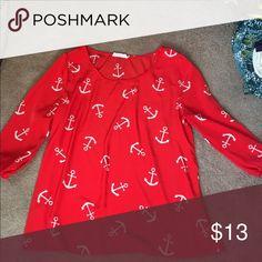 "Nautical dark coral boutique shirt Beautiful dark coral (not quite ""red"") nautical shirt purchased from Lime Lush Boutique sz M Tops"