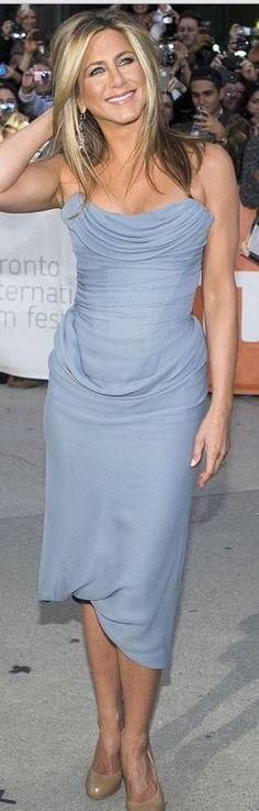 Who made Jennifer Aniston's blue strapless dress and nude pumps that she wore in Toronto?