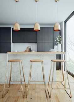 Scandinavian kitchen decor belongs to the most perfect decorations for a modern kitchen. We have a collection of Scandinavia kitchen decor ideas to consider. Gold Kitchen, Modern Kitchen Cabinets, Rustic Kitchen, Living Room Kitchen, Home Decor Kitchen, Backsplash With Dark Cabinets, Backsplash Ideas, Kitchen Backsplash, Copper And Marble