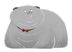 """035: Scottish Fold A co-worker saw the thumbnail of this drawing and said, """"your cats are getting fatter and fatter"""" It's true. Fat cats are just too fun to draw."""
