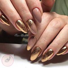 Gold Nail Art, Rose Gold Nails, Glitter Nails, Oval Nails, My Nails, Gorgeous Nails, Pretty Nails, Long Round Nails, Round Shaped Nails