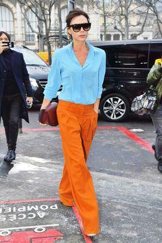 Blue sky shirt+orange wide leg pants+ burgundy bag- v beckam
