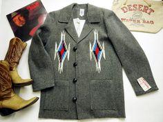 オルテガ 手織りチマヨ・ジャケット 81RG-4208 サイズ42 ダークグレー ウール100% アメリカ製