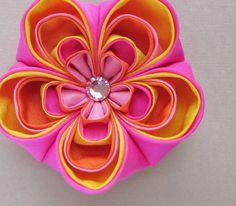 orange and pink fabric flower #kanzashi