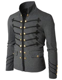 Veste courte officier type Steampunk. LIEN: http://steampunkclothingsource.com/steampunk-clothing-men/doublju-mens-jacket-with-button-detail