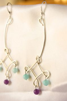 Silver Plated Wire Wrapped Dangle Earrings with by ConceptAna, $14.00