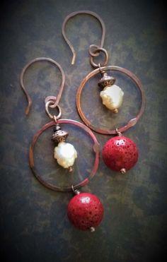 Hippie Chic-Copper Earrings-Boho Chic-Pearl Earrings-Rustic Jewelry-Long Boho-Circles Earrings by 23littlewishes on Etsy