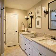 Bathroom - neutral wall and counters, white cabinets, and tile in shower and around tub. Use this for master bathroom                                                                                                                                                      More