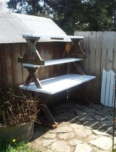 Stephanie Freeman's freebie potting bench ~ simple and great idea!