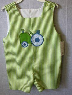 291483 - Baby Boy Clothes - Childrens Clothes-  Baby Clothes - Boy Jon Jon - Like John Deere Tractor Applique - Tractor Applique _ Romper