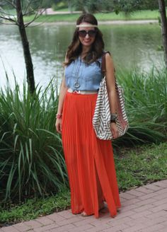 Pleated Maxi Skirt/ Chambray Top/ Ikat Tote