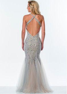 Shining Tulle Spaghetti Straps Neckline Mermaid Prom Dress