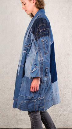 SilkDenim's Oh Yoko Coat Made From Recycled Denim image 1 Moda Hippie, Denim Ideas, Recycled Denim, Recycled Clothing, Denim Flares, Denim Coat, Vintage Jeans, Jacket Dress, Denim Fashion