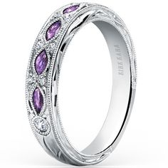 """Kirk Kara """"Dahlia"""" Purple Amethyst Wedding Ring Featuring 0.09 Carats Diamonds and 0.30 Carats Marquise Cut Purple Amethysts in 18kt White Gold - Style K1120AD-B"""