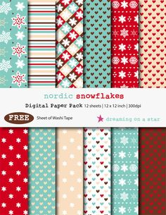 ♥ BUY 3 GET 1 FREE ♥ SALE Snowflake Digital Scrapbook Paper Pack with FREE Washi Tape by DreamingOnAStar $4.20