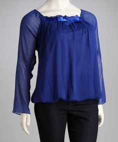 Take a look at this Madison Paige Royle Bow Sheer Plus-Size Top by Madison Paige on #zulily today!