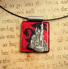 Fall of the Castle Dragon Fused Glass Pendant With Free Necklace Cord