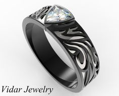 Black Gold Diamond Wedding band For A Men,Unique Wedding Band For A Men,Diamond Mens Ring,Black Gold Ring For Mens