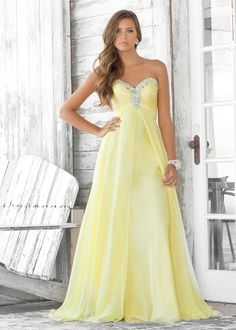 Flowy yellow strapless dress - Blush Prom 9388