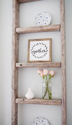 want ideas on how decorating with a vintage ladder can be easy and fun? then click on this link and I will show you some unique ways! & Decorating with a Vintage Ladder | Pinterest | Antique ladder ...