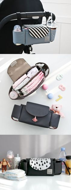 This ingenious bag is to make additional storage to your baby stroller! You can easily attach the bag to the handle of a stroller, and you can get a quick access to the items inside. The spacious main compartment is good for baby items such as diapers, wet wipes, and toys. There is also a cup holder on each side to hold a baby bottle, water bottle, and take-out cup!