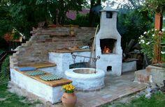 Hangulatos, multifunkcionális kerti sütő, ahol bográcsozni, szalonnát sütni, grillezni is lehet. Teli találat. Fotó: pinterest.com