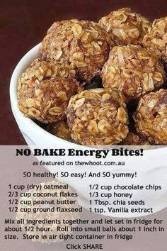 Healthy Snacks No bake energy bites. They are delicious. I use peanut butter powder, and dark chocolate chips. - These delicious little no bake energy bites are the perfect healthy snack! Healthy Sweets, Healthy Eating, Healthy Recipes, Clean Eating, Easy Healthy Snacks, Healthy Breakfasts, Advocare Recipes, Healthy Cookies, Nutritious Meals