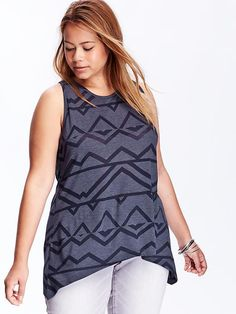 Women's Plus Sleeveless Burnout Tunics