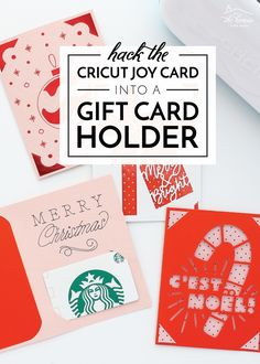 It's easy to turn a Cricut Joy Card into a Gift Card Holder! This tutorial shows you exactly how, and includes ready-to-use templates! Gift Card Template, Card Templates, Easy Diy Gifts, Homemade Gifts, Diy Craft Projects, Craft Tutorials, All Things Christmas, Christmas Crafts, Cricut Craft Room