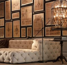 Yes this is the same tufted couch as before but I couldn't help this other angle on it...and the close up on that wildly cool birdcage chandelier!