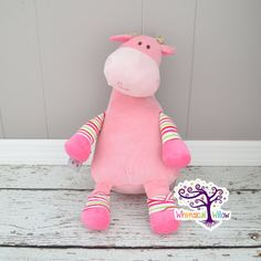 Pink Giraffe Pastel Stuffed Animal Cubbie by WhimsicalWillowLLC