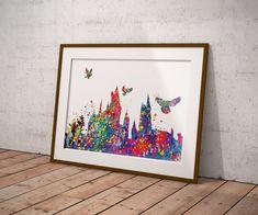 Hogwarts Castle Watercolor Multicolored Art Print Harry Potter Fan Wall Art