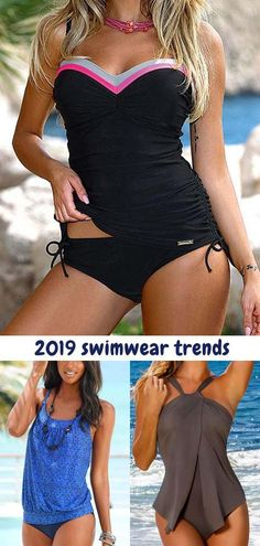 Swimsuits For Women 2019 : Tankini Swimsuit 2019 For Women Halter One Piece Swimsuit, Striped Swimsuit, Tankini, Black Beachwear, Swimwear Fashion, Bikini Fashion, Swim Dress, Ideias Fashion, Cool Outfits