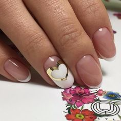 Business nails, Nails for business lady, Nails for wedding dress, Party nails ideas, ring finger nails, Round nails, Simple French, Spring summer nails 2017
